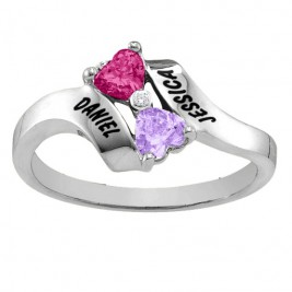 Sterling Silver  Rhapsody  Kissing Hearts Ring