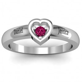 Sterling Silver  Solitaire  Heart Ring