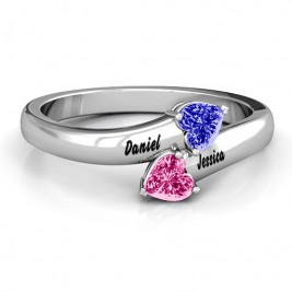 Sterling Silver  Tribute  Hearts Bypass Ring