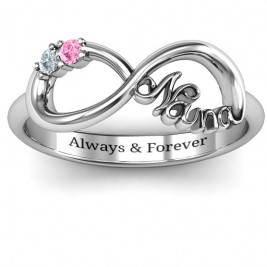 Sterling Silver 2-10 Stone Nana Infinity Ring