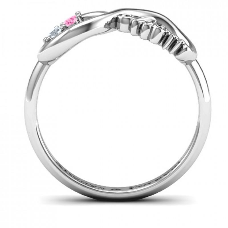 Sterling Silver 2 10 Stone Nana Infinity Ring