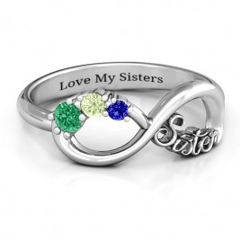 Sterling Silver 2-4 Stone Sisters Infinity Ring