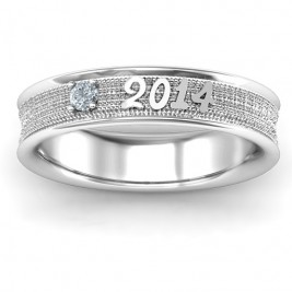 Sterling Silver 2014 Unisex Textured Graduation Ring with Emerald Stone