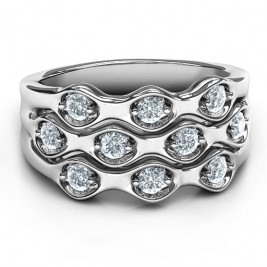 Sterling Silver 3 Tier Wave Ring