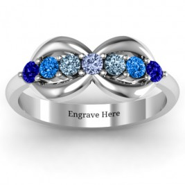Sterling Silver 7 Stones Infinity Ring
