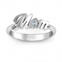 Sterling Silver All About Mom Birthstone Ring