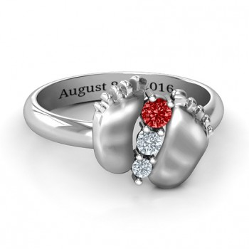 Sterling Silver Baby Foot Birthstone Ring