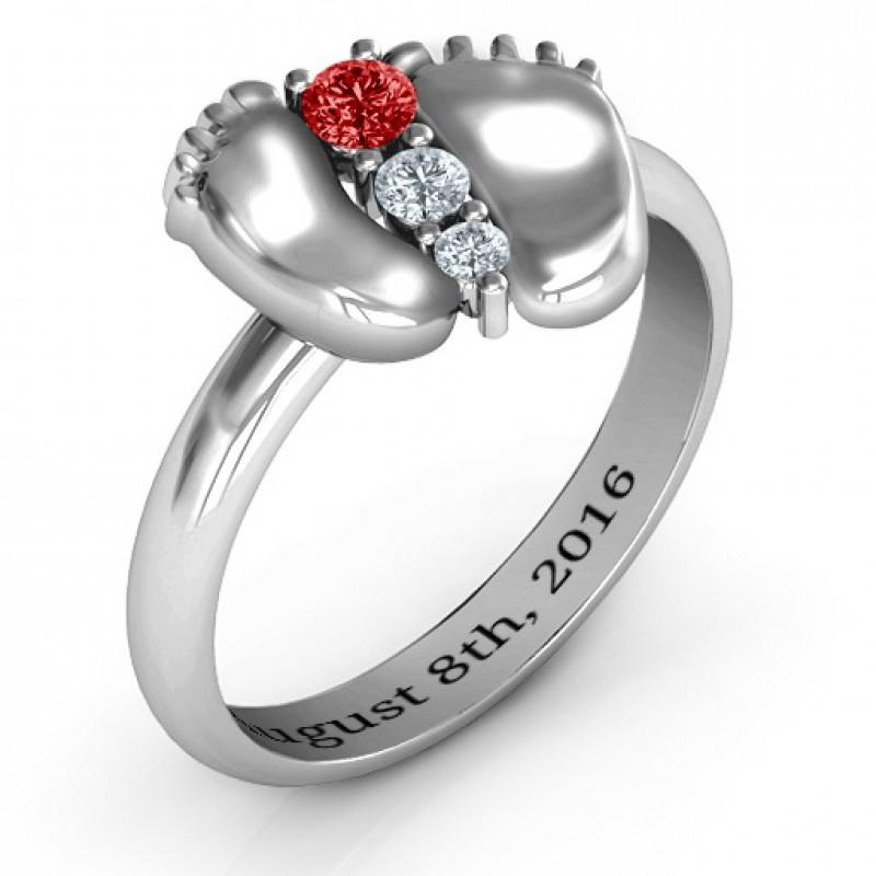 Sterling Silver Baby Foot Birthstone Ring