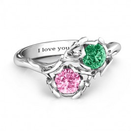 Sterling Silver Be-leaf In Love Double Gemstone Floral Ring