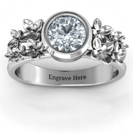 Sterling Silver Beautiful Blossoms with Split Shank Ring and Genuine Diamond Stone