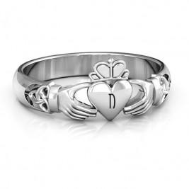 Sterling Silver Celtic Knotted Claddagh Ring
