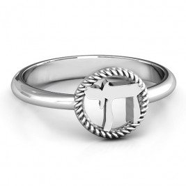 Sterling Silver Chai with Braided Halo Ring