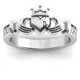 Sterling Silver Classic Claddagh Ring with Accents