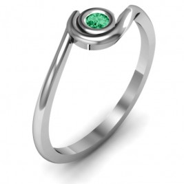 Sterling Silver Curved Bezel Ring