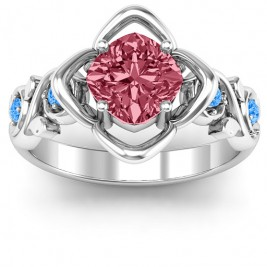 Sterling Silver Cushion on Flowers Ring
