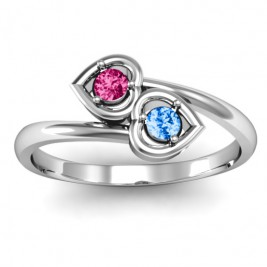 Sterling Silver Double Heart Bypass Ring