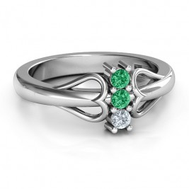 Sterling Silver Double Heart Three Stone Ring