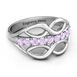 Sterling Silver Double Infinity Ring with Accents