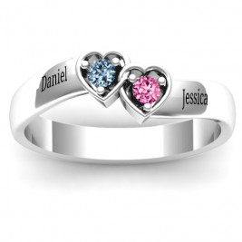 Sterling Silver Double Interlocked Hearts Ring