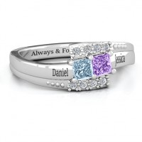 Sterling Silver Double Princess Bypass with Accents Ring