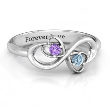 Sterling Silver Duo of Hearts and Stones Infinity Ring