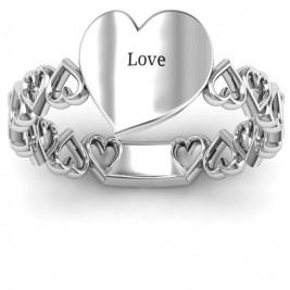 Sterling Silver Engravable Cut Out Hearts Ring