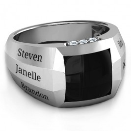 Sterling Silver Engravable Statement 6-Stone Men's Ring