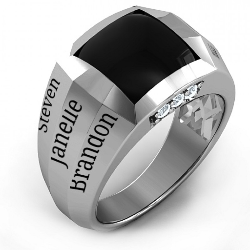 sterling silver engravable statement 6 stone men 39 s ring. Black Bedroom Furniture Sets. Home Design Ideas