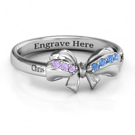 Sterling Silver Fancy Stone Set Bow Ring