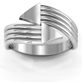 Sterling Silver Geometric Arrows and Triangles Bypass Ring