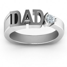 Sterling Silver Greatest Dad Birthstone Men's Ring with Peridot (Simulated) Stone