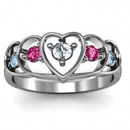 Sterling Silver Heart Collage Ring