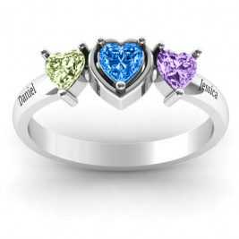 Sterling Silver Heart Stone with Twin Heart Accents Ring