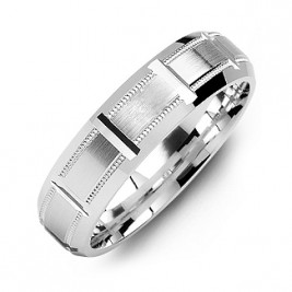 Sterling Silver Horizontal-Cut Men's Ring with Beveled Edge