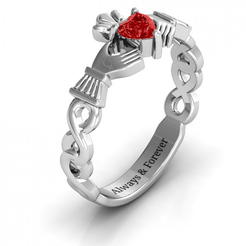 Sterling Silver Infinity Claddagh With Heart Stone Ring