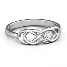 Sterling Silver Infinity Knot Ring with Accents