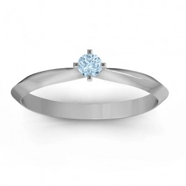 Sterling Silver Knife Edge Solitaire Ring