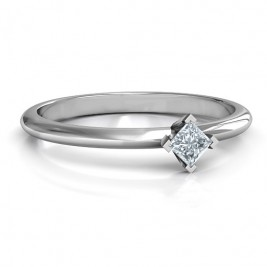 Sterling Silver L-Shaped Princess Ring