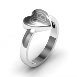 Sterling Silver Large Engraved Monogram Heart Ring