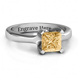 Sterling Silver Large Princess Solitaire Ring