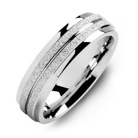 Sterling Silver Laser-Finish Men's Ring with Polished Edges