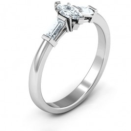 Sterling Silver Marquise Cut Love Ring