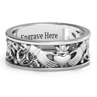 Sterling Silver Men's Celtic Claddagh Band Ring