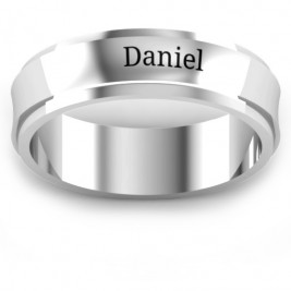 Sterling Silver Menelaus Bevelled Concave Men's Ring