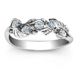 Sterling Silver Organic Leaf Five Stone Family Ring