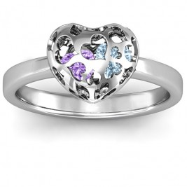 Sterling Silver Petite Caged Hearts Ring with 1-3 Stones