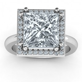Sterling Silver Princess Cut Cocktail Ring with Halo