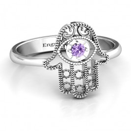 Sterling Silver Protection Hamsa Ring