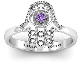 Sterling Silver Protection Hamsa Ring