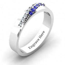 Sterling Silver Ridge Accent Diagonal Peak Women's Ring